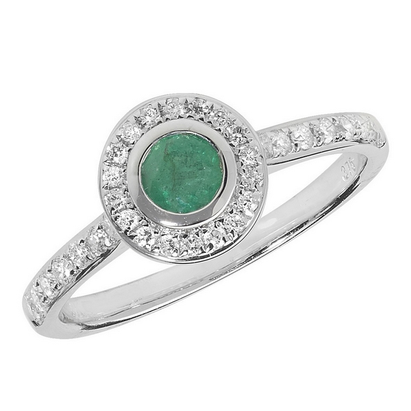 Diamond and Emerald Rubover Ring with Diamond Set Shoulders in 9ct White Gold