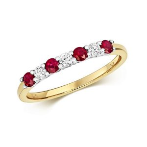 Claw Set Round Ruby and Diamond Half Eternity Style Ring in 9ct Yellow Gold