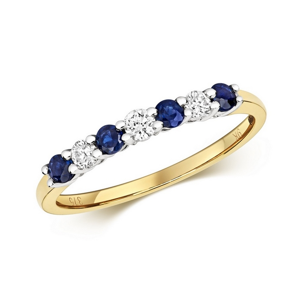 Claw Set Round Sapphire and Diamond Half Eternity Style Ring in 9ct Yellow Gold