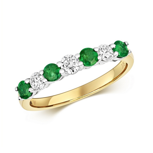 Claw Set Round Emerald and Diamond Half Eternity Style Ring in 9ct Yellow Gold