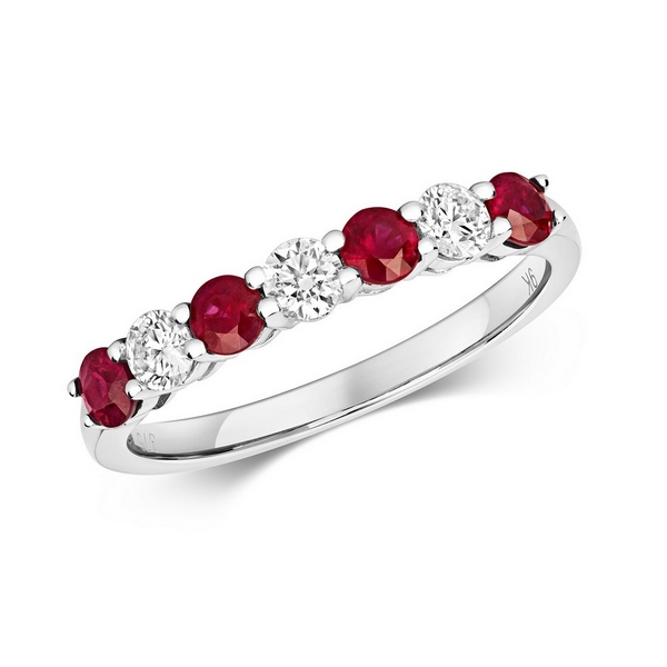 Claw Set Round Ruby and Diamond Half Eternity Style Ring in 9ct White Gold