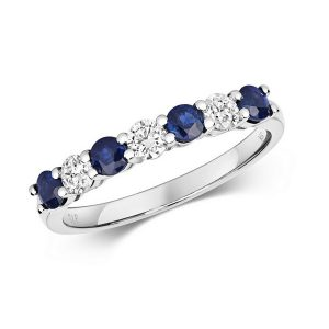 Claw Set Round Sapphire and Diamond Half Eternity Style Ring in 9ct White Gold