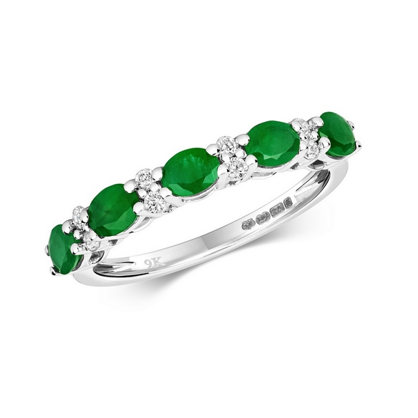 Claw Set Round Emerald and Diamond Half Eternity Style Ring in 9ct White Gold