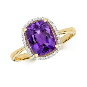 Diamond and Fancy Cut Centre Set Cushion Amethyst Cocktail Ring in 9ct Yellow Gold