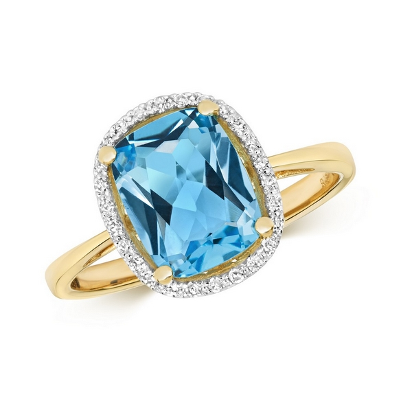 Diamond and Fancy Cut Centre Set Cushion Blue Topaz Cocktail Ring in 9ct Yellow Gold