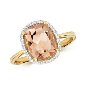 Diamond and Fancy Cut Centre Set Morganite Cocktail Ring in 9ct Yellow Gold