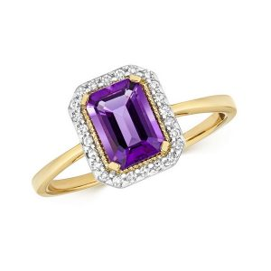 Diamond and Fancy Emerald Cut Centre Set Amethyst Cocktail Ring in 9ct Yellow Gold