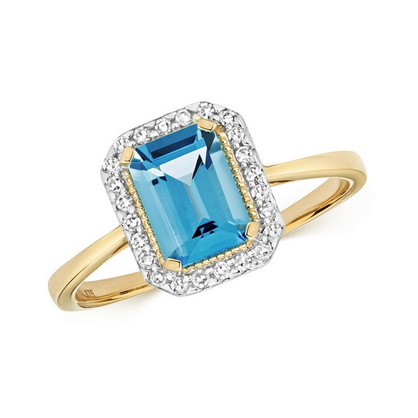 Diamond and Fancy Emerald Cut Centre Set Blue Topaz Cocktail Ring in 9ct Yellow Gold