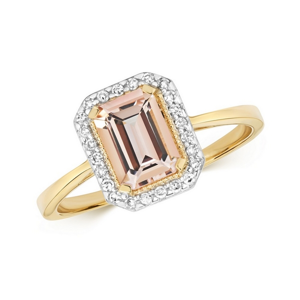 Diamond and Fancy Emerald Cut Centre Set Morganite Cocktail Ring in 9ct Yellow Gold