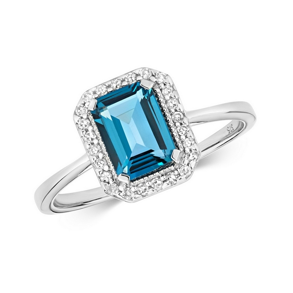 Diamond and Fancy Emerald Cut Centre Set London Blue Topaz Cocktail Ring in 9ct White Gold