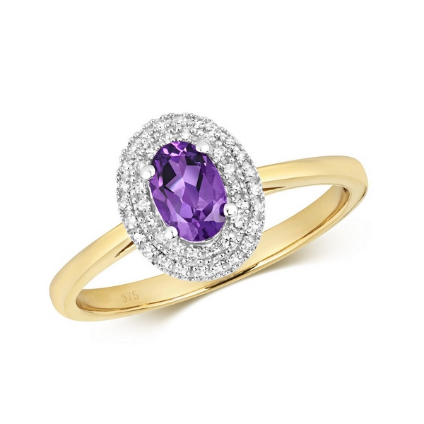 Diamond and Fancy Oval Cut Centre Set Amethyst Cocktail Ring in 9ct Yellow Gold