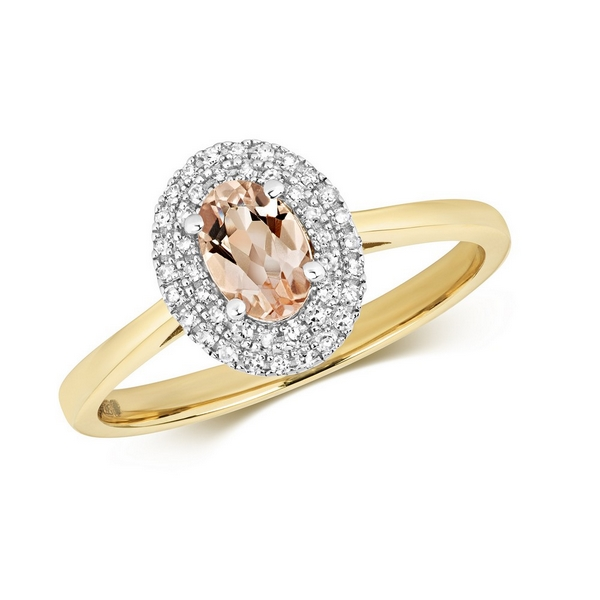 Diamond and Fancy Oval Cut Centre Set Morganite Cocktail Ring in 9ct Yellow Gold