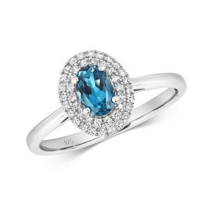 Diamond and Fancy Oval Cut Centre Set London Blue Topaz Cocktail Ring in 9ct White Gold