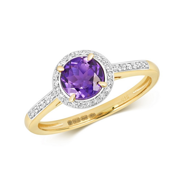 Diamond and Fancy Round Cut Centre Set Amethyst Cocktail Ring in 9ct Yellow Gold