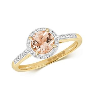 Diamond and Fancy Round Cut Centre Set Morganite Cocktail Ring in 9ct Yellow Gold