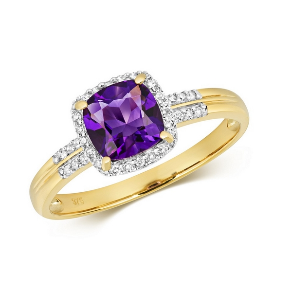 Diamond and Fancy Cushion Cut Centre Set Amethyst Cocktail Ring with Diamond Shoulders in 9ct Yellow Gold