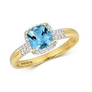 Diamond and Fancy Cushion Cut Centre Set Blue Topaz Cocktail Ring with Diamond Shoulders in 9ct Yellow Gold