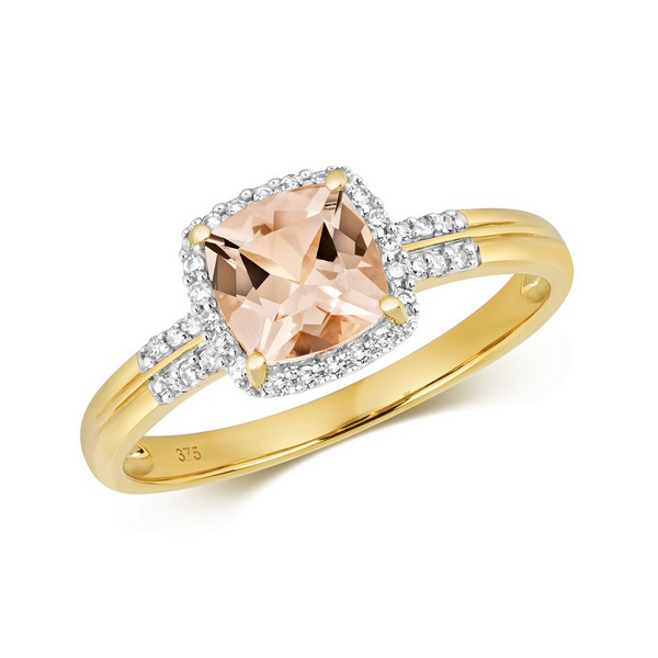 Diamond and Fancy Cushion Cut Centre Set Morganite Cocktail Ring with Diamond Shoulders in 9ct Yellow Gold
