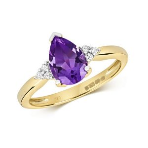 Diamond and Fancy Pear Cut Centre Set Amethyst Cocktail Ring with Diamond Accents in 9ct Yellow Gold