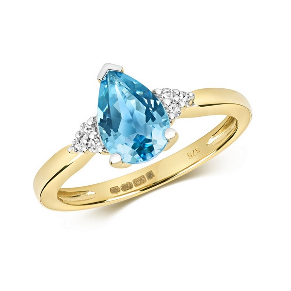 Diamond and Fancy Pear Cut Centre Set Blue Topaz Cocktail Ring with Diamond Accents in 9ct Yellow Gold