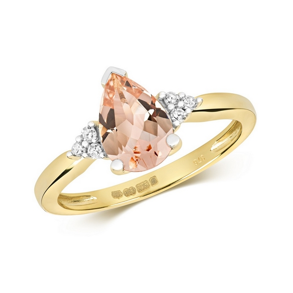 Diamond and Fancy Pear Cut Centre Set Morganite Cocktail Ring with Diamond Accents in 9ct Yellow Gold