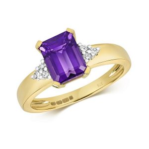 Diamond and Fancy Emerald Cut Centre Set Amethyst Cocktail Ring with Diamond Accents in 9ct Yellow Gold