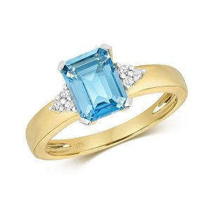 Diamond and Fancy Emerald Cut Centre Set Blue Topaz Cocktail Ring with Diamond Accents in 9ct Yellow Gold