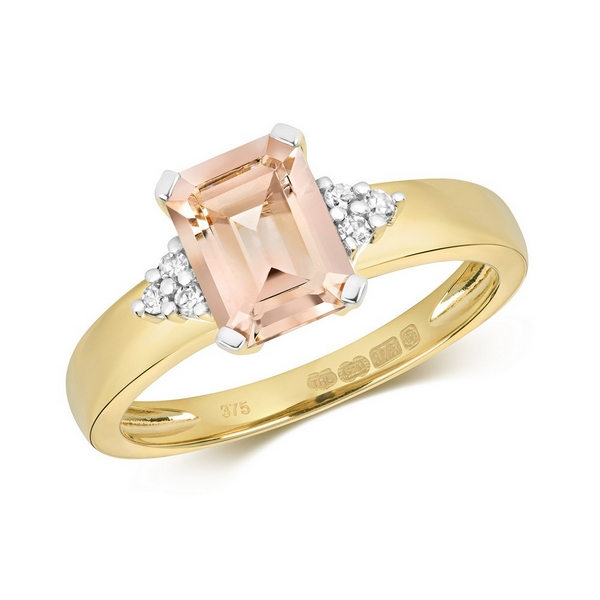 Diamond and Fancy Emerald Cut Centre Set Morganite Cocktail Ring with Diamond Accents in 9ct Yellow Gold