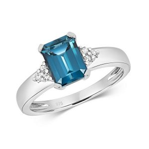 Diamond and Fancy Emerald Cut Centre Set London Blue Topaz Cocktail Ring with Diamond Accents in 9ct Yellow Gold