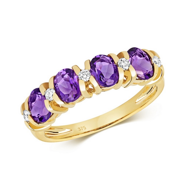 Diamond and Fancy Oval Cut Amethyst Half Eternity Style Ring in 9ct Yellow Gold