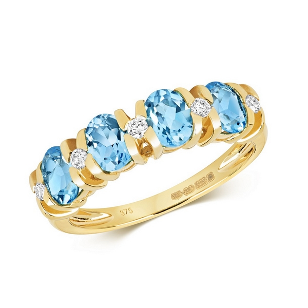 Diamond and Fancy Oval Cut Blue Topaz Half Eternity Style Ring in 9ct Yellow Gold
