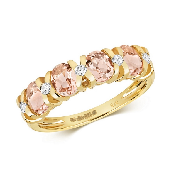 Diamond and Fancy Oval Cut Morganite Half Eternity Style Ring in 9ct Yellow Gold