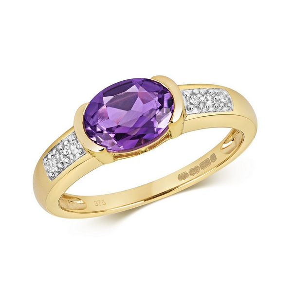 Diamond and Bezel Set Oval Amethyst Dress Ring with Diamond Shoulders in 9ct Yellow Gold
