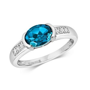 Diamond and Bezel Set Oval London Blue Topaz Dress Ring with Diamond Shoulders in 9ct White Gold