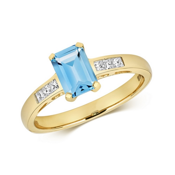 Diamond and Prong Set Emerald Cut Blue Topaz Dress Ring with Diamond Shoulders in 9ct Yellow Gold