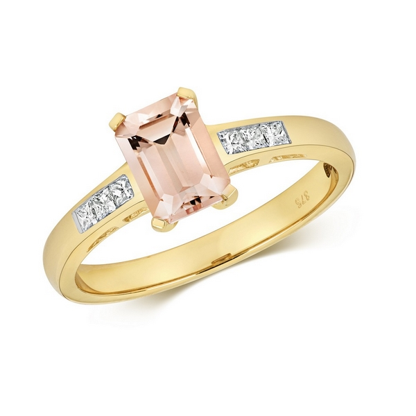 Diamond and Prong Set Emerald Cut Morganite Dress Ring with Diamond Shoulders in 9ct Yellow Gold