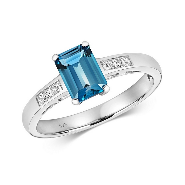 Diamond and Prong Set Emerald Cut London Blue Topaz Dress Ring with Diamond Shoulders in 9ct White Gold