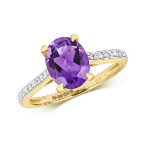 Diamond and Prong Set Fancy Cut Oval Amethyst Dress Ring with Diamond Shoulders in 9ct Yellow Gold