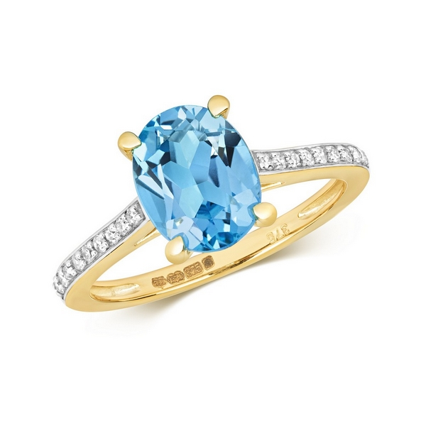 Diamond and Prong Set Fancy Cut Oval Blue Topaz Dress Ring with Diamond Shoulders in 9ct Yellow Gold