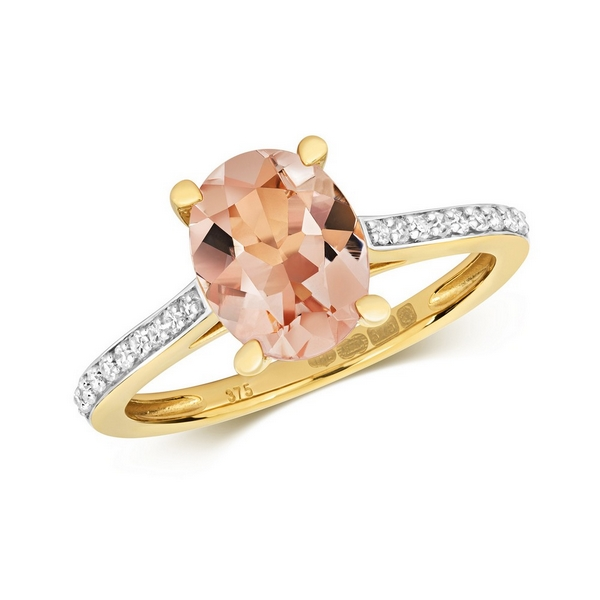 Diamond and Prong Set Fancy Cut Oval Morganite Dress Ring with Diamond Shoulders in 9ct Yellow Gold