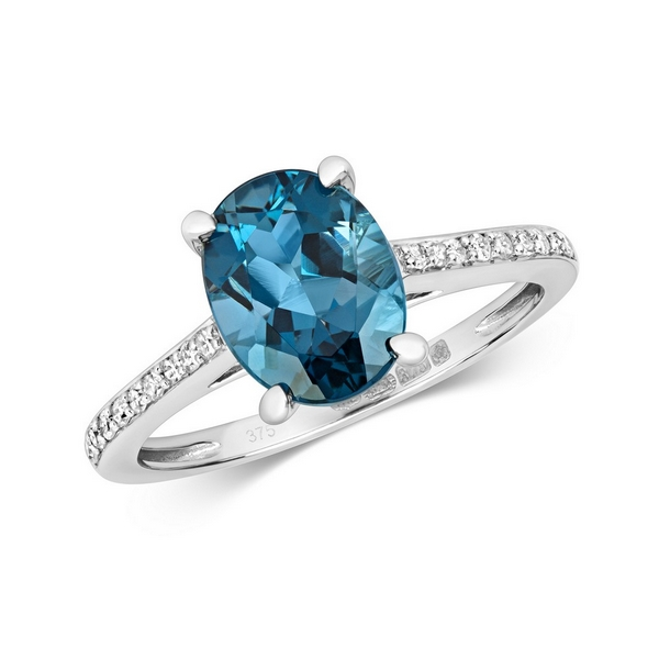 Diamond and Prong Set Fancy Cut Oval London Blue Topaz Dress Ring with Diamond Shoulders in 9ct Yellow Gold
