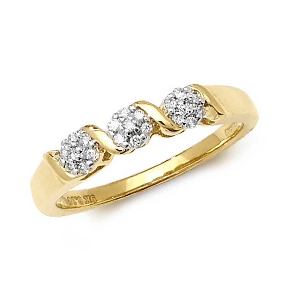 Diamond Crossover Cluster Ring in 9ct Yellow Gold (0.16ct)