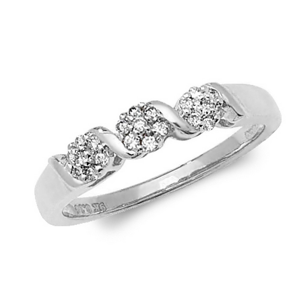 Diamond Crossover Cluster Ring in 9ct White Gold (0.16ct)