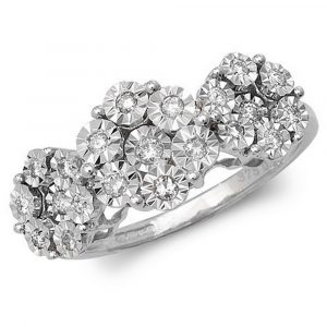 Illusion Set Multi Stone Diamond Trilogy Inspired Ring in 9ct White Gold (0.25ct)