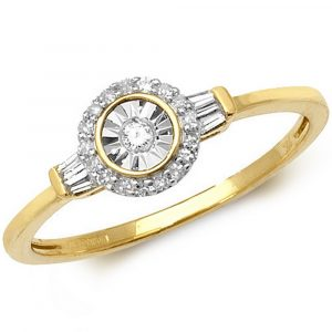 Halo Diamond Ring with Baguette Accent Shoulders in 9ct Yellow Gold (0.14ct)