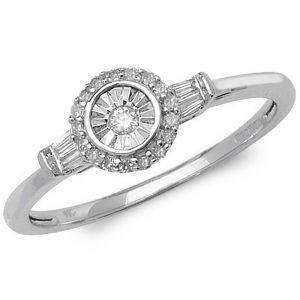 Halo Diamond Ring with Baguette Accent Shoulders in 9ct White Gold (0.14ct)
