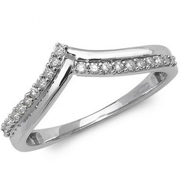 Wishbone Diamond Ring in 9ct White Gold 015ct Hockley Jewellers