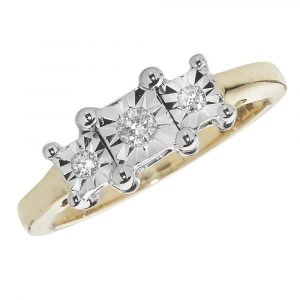 Diamond Three Stone illusion Set Diamond Ring in 9ct Yellow Gold (0.10ct)