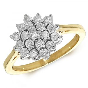 Illusion Set Multi Stone Diamond Cluster Ring in 9ct Yellow Gold (0.10ct)