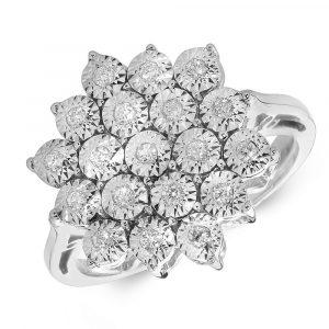 Illusion Set Multi Stone Diamond Cluster Ring in 9ct White Gold (0.20ct)